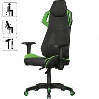 AMSTYLE® GamePad - Gaming Chair aus Kunstleder / Mesh in Schwarz / Grün