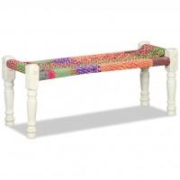 Sitzbank Massivholz Akazie mit Chindi-Stoff Mehrfarbig