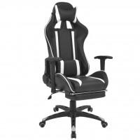 Neigbarer Racing-Bürostuhl mit Fußstütze Weiß