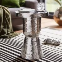 WOHNLING Design Beistelltisch DELYLA 43x59x43 cm Aluminium Silber