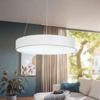 WOHNLING LED-Deckenleuchte ROUND rund matt weiß Metall EEK A+ Büro-Deckenlampe 92 Watt Ø 60 cm