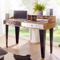 WOHNLING Schreibtisch NEPAL 120x54x90 cm Massivholz Computertisch Echtholz Büro