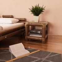 Nachttisch 40×40×40 cm Bambus Dunkelbraun