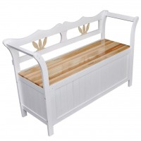 Lange Truhenbank Weiß 126x42x75 cm Holz