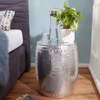 WOHNLING Beistelltisch PEDRO 42x49x42cm Aluminium Silber Dekotisch orientalisch rund