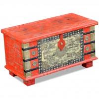 Aufbewahrungstruhe Rot Mangoholz 80x40x45 cm