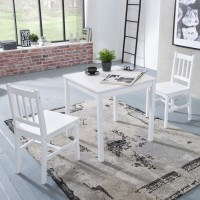 WOHNLING Esszimmer-Set EMIL 3 teilig Kiefer-Holz weiß Landhaus-Stil 70 x 73 x 70 cm