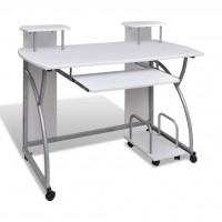 Computertisch PC Tisch Mobiler Computerwagen Bürotisch Laptop weiß