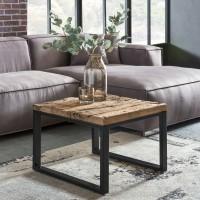 WOHNLING Design Couchtisch BELLARY 60x60x45 cm Massiv Holz Sofatisch mit Metallgestell