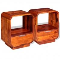 Nachttisch mit Schublade 2 Stk Sheesham-Holz Massiv 40x30x50 cm