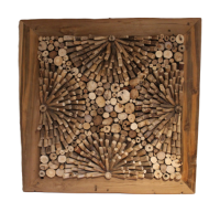 Teakholz Wandbild 74x74cm Deko Wanddekoration Teak Wurzel Holz Holzbild