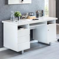 WOHNLING Schreibtisch SALLY 140x76x60 cm Groß Weiß Hochglanz Computertisch