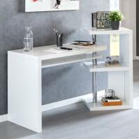 WOHNLING Schreibtisch MARCIE 145x50x94 cm Bürotisch mit Regal Weiß Hochglanz