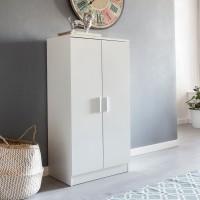 WOHNLING Schuhschrank MARTIN mit 2 Türen Weiß 55x108x35 cm Schuhregal Holz geschlossen