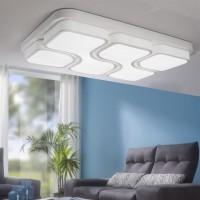 WOHNLING Design LED-Deckenleuchte GEOMETRIC Deckenlampe weiß 48W A+ 78x9x53 cm