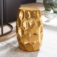 WOHNLING Beistelltisch JADA 30x47x30cm Aluminium Gold Dekotisch orientalisch rund