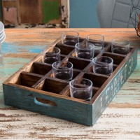 WOHNLING Design Holztablett SURAT für 15 Gläser  45 x 8 x 30 cm Tablett Massivholz