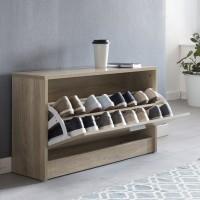 WOHNLING Schuhbank ZOEY mit Sitzfläche Sonoma Eiche Schuhkipper Holz 80 x 47 x 24 cm