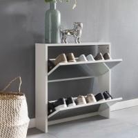 WOHNLING Schuhkipper NIKLAS 2 Klappen Weiß mit Spiegel 63x67x17 cm Schuhschrank Holz