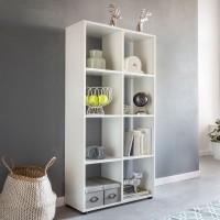 WOHNLING Design Bücherregal ZARA mit 8 Fächern Weiß 70 x 142 x 29 cm