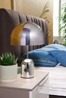 WOHNLING Design Tischleuchte OHRI Metallschirm-Lampe dimmbar Nachttischlampe Silber