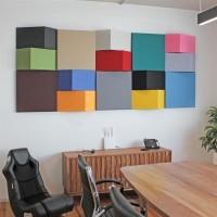 AMSTYLE 3D Akustik-Wandpanel CALM 60,5x30,5x15cm Schalldämmung Pink mit Stoffbezug