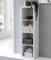 WOHNLING Würfelregal EDDIE 42x147x29 cm Bücherregal mit 4 Fächern Weiß Standregal Holz Regal freiste