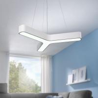WOHNLING LED-Pendelleuchte Y-FORM Matt weiß Metall EEK A+ Büro-Deckenlampe 36 Watt 80 x 107 x 80 cm