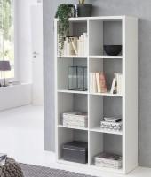 WOHNLING Würfelregal EDDIE 77x147x29 cm Bücherregal mit 8 Fächern Weiß Standregal Holz Regal freiste