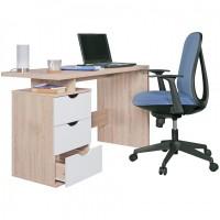 WOHNLING Schreibtisch SAMO mit Rollcontainer Sonoma/Weiß