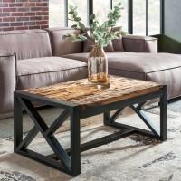 WOHNLING Design Couchtisch BELLARY 102x46x61 cm Massiv Holz Sofatisch mit Metallgestell