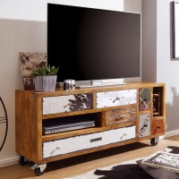 WOHNLING TV-Board NEPAL 130x40x60 cm Massivholz Hifi-Board mit 7 Schubladen