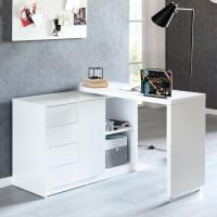 WOHNLING Schreibtisch NAOMI 166x42x77 cm Groß Weiß Hochglanz Computertisch
