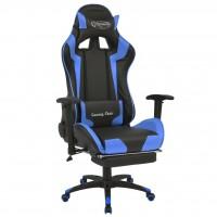 Bürostuhl Gaming-Stuhl Neigbar mit Fußstütze Blau