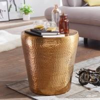 WOHNLING Beistelltisch VIKRAM 41x41x41cm Aluminium Gold Dekotisch orientalisch rund