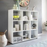 WOHNLING Design Bücherregal ZARA mit 9 Fächern Weiß 108 x 104 x 29 cm