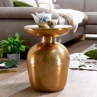 WOHNLING Beistelltisch DELYLA Aluminium 36,5x46x36,5 cm Dekotisch Gold orientalisch rund