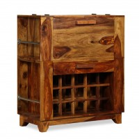 Barschrank Massives Sheesham Holz 85×40×95 cm