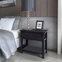 Nachttisch Holz 2 Stk. Schwarz
