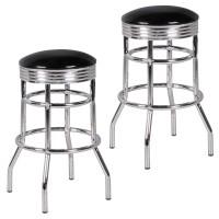 WOHNLING 2er Set Barhocker ELVIS American Diner Retro Design Kunstleder Metall Schwarz