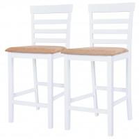 Barstühle 2 Stk. Holz Weiß und Beige