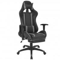 Neigbarer Racing-Bürostuhl mit Fußstütze Grau