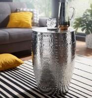WOHNLING Beistelltisch PEDRO 41,5x62x41,5cm Aluminium Silber Dekotisch orientalisch rund