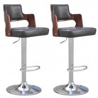 Barstühle 2 Stk. Kunstleder Viereckige Sitzfläche Schwarz