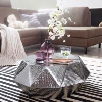 WOHNLING Couchtisch DIAMANT 73x28,5x73cm Aluminium Silber Beistelltisch orientalisch