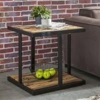 WOHNLING Design Beistelltisch BELLARY 61x61x61 cm Massivholz Tisch mit Metallgestell