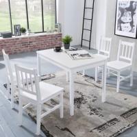 WOHNLING Esszimmer-Set EMIL 5 teilig Kiefer-Holz weiß Landhaus-Stil 108 x 73 x 65 cm