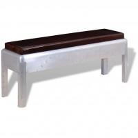 Sitzbank im Retro-Industrie-Design Echtleder 110 x 32 x 45 cm