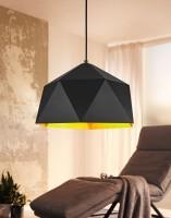 WOHNLING Design Hängelampe HEXAGON Ø 38cm schwarz/gold Deckenlampe mit Metall-Schirm