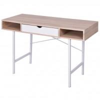 Schreibtisch mit 1 Schublade Eiche und Weiß